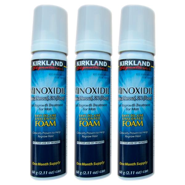 Minoxidil Kirkland Foam 5% - Tratamento para 3 Meses