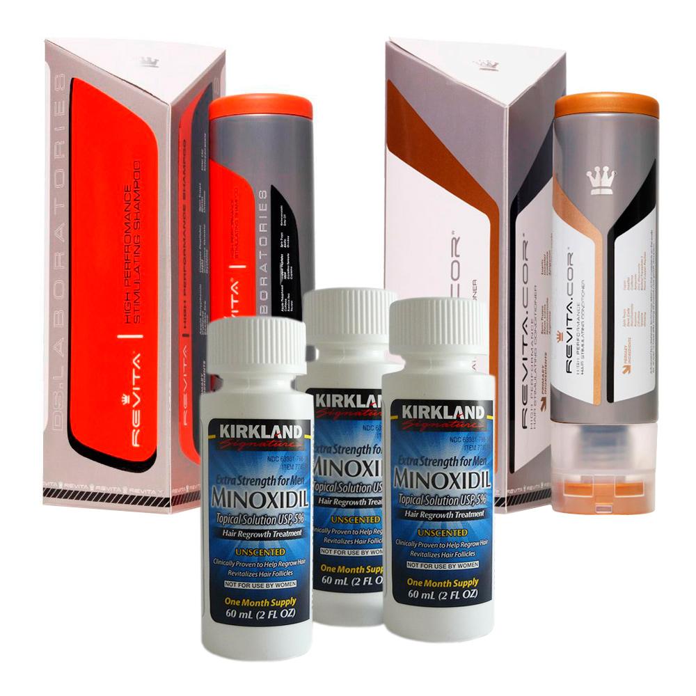 Kit Minoxidil Kirkland + Shampoo e Condicionador Revita