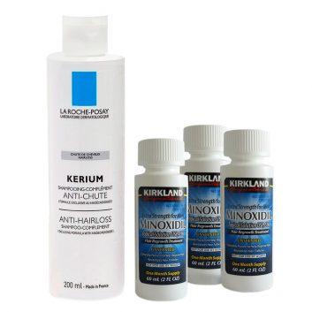 Kit Minoxidil Kirkland 3 Frascos e Shampoo Kerium Antiqueda 200 ml